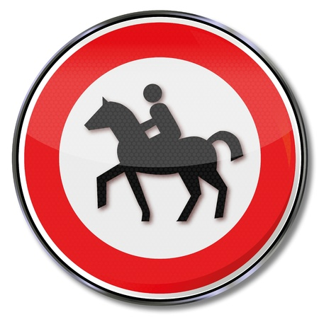 slow down: Traffic sign no bridle path Illustration