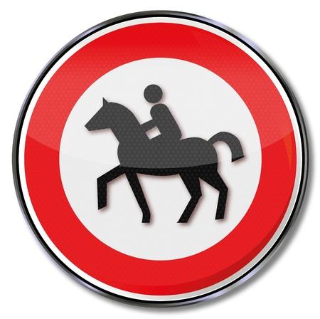 bridle: Traffic sign no bridle path Illustration