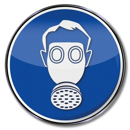 caution sign: Marchio di sicurezza protezione delle vie respiratorie Vettoriali
