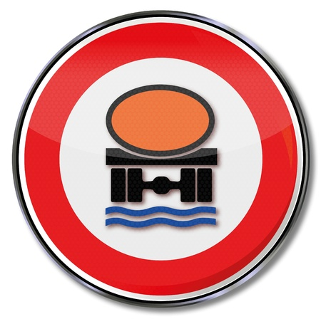 dangerous goods: Traffic sign tankers and environmental protection Illustration