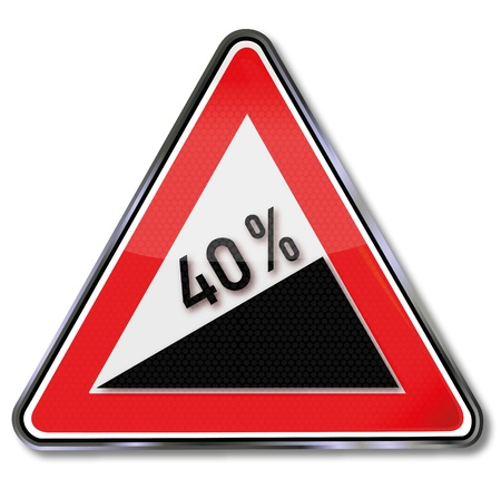 mountain road: Traffic sign 40 percent slope