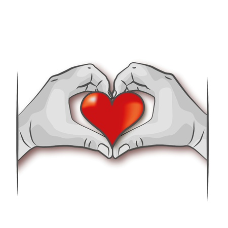 Hands with Heart and Love Vector