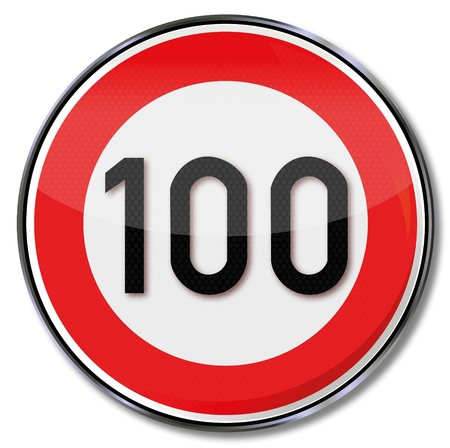 speeder: Traffic sign 100 kmh Illustration