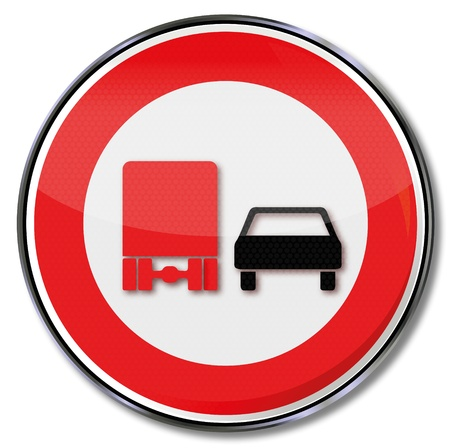 overtaking: Traffic sign no overtaking trucks Illustration