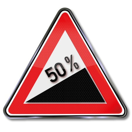 slow down: Traffic sign 50 percent slope