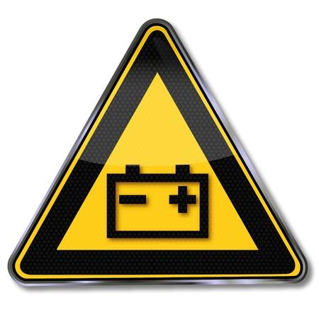 piles: �tiquette d'avertissement de batterie Illustration