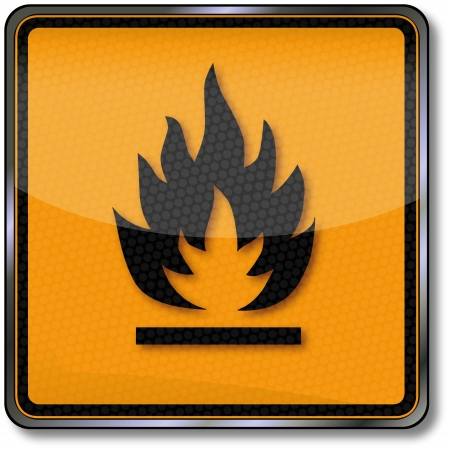 substances: Safety sign hazard substances liable to spontaneous combustion Illustration