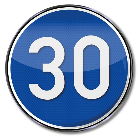 30: 30 kmh speed limit road sign