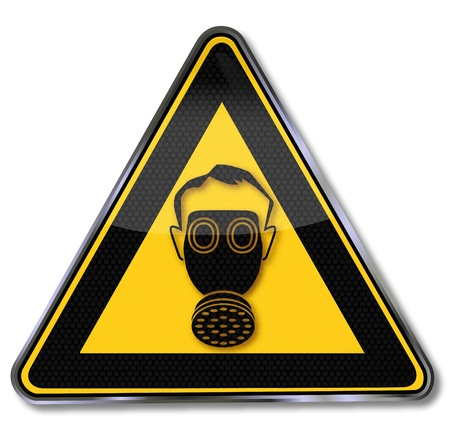 gas mask warning sign: Sign with gas mask Illustration