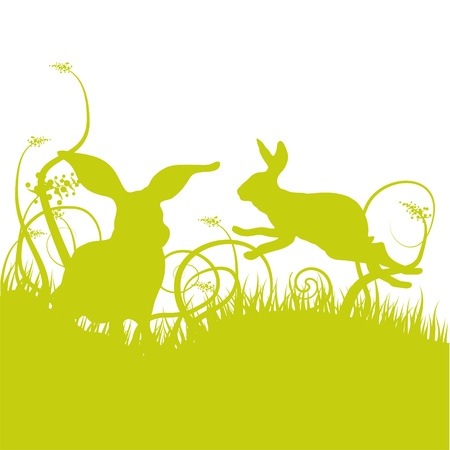 grass silhouette: Grass meadow with rabbits Illustration
