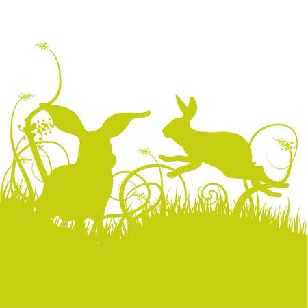 silhouette lapin: Prairie d'herbe avec des lapins