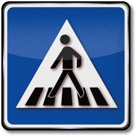 senda peatonal: Paso de peatones señal de tráfico