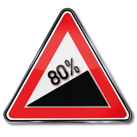 the slope: Traffic sign 80 percent slope