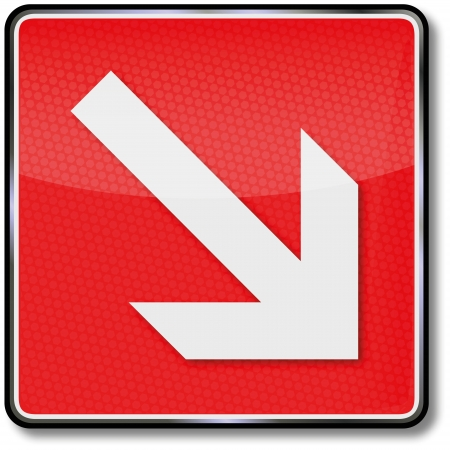Sign fire arrow to the right Illustration