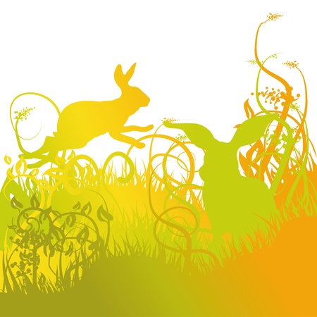 Meadow with bunnies Vector