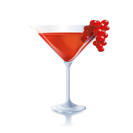Cocktail with red berries Vector