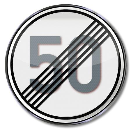 usunięta: 50 Znak drogowy kmh usunięte Ilustracja