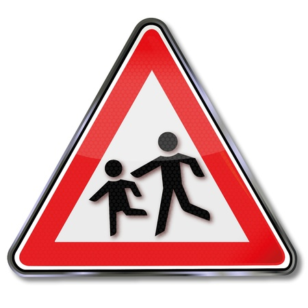 risks button: Road Sign Caution Children Illustration
