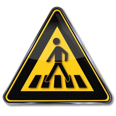 paso de peatones: Paso de peatones señal de tráfico en color amarillo