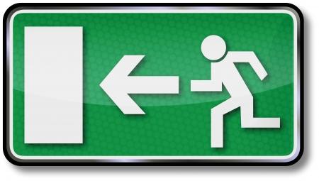 Fire escape route signs Illustration