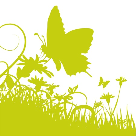 spring out: Mariposa en una flor Vectores
