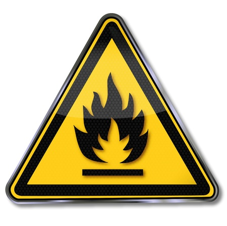 danger warning sign: Symbol explosion, fire and fire Illustration