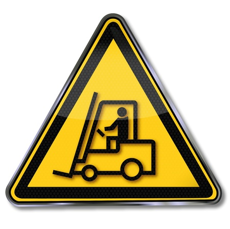 forklift driver: Warning symbol forklift Illustration