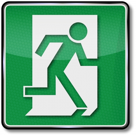 safety sign fire safety signs: Fire escape route signs Illustration