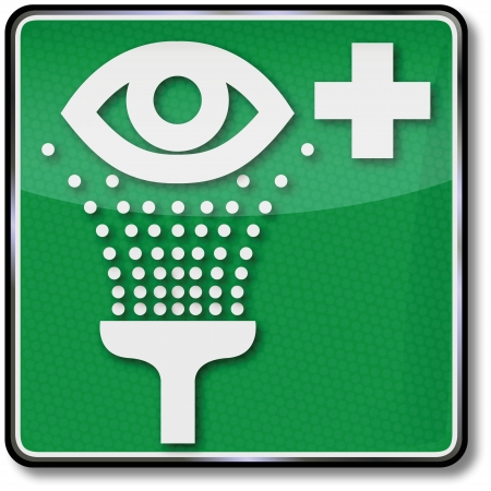 fire extinguisher sign: Fire safety signs eyewash Illustration