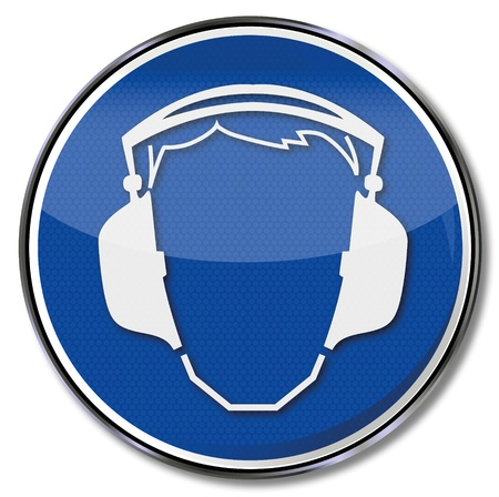 warning attention sign: Safety signs with ear protection headphones Illustration