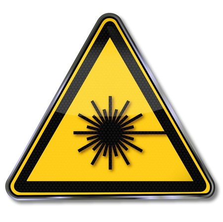 warning triangle: Laser warning signs Illustration