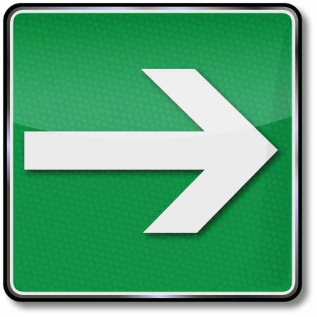 Fire safety signs arrow to the right Illustration