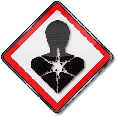 panneaux danger: Les signes de danger, la sant�, la recherche et du poumon Illustration