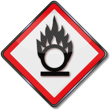 caution chemistry: Danger signs of fire and fire fuel