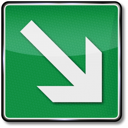safety signs: Fire safety signs down arrow to the right Illustration