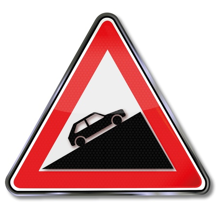 slow down: Sign attention lead and hand brake,