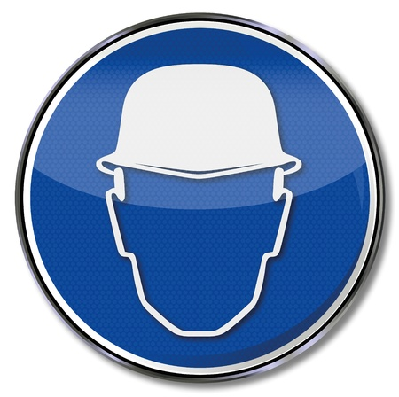 risks button: Helmet head protection and safety signs Illustration