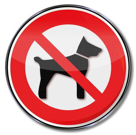 prohibition signs: No sign prohibiting dogs Illustration