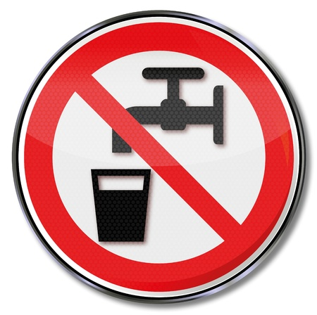 Prohibition signs no drinking water