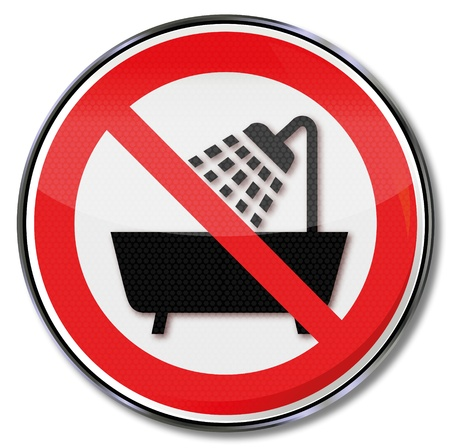 prohibiting: Prohibition sign prohibiting device use in the bathtub