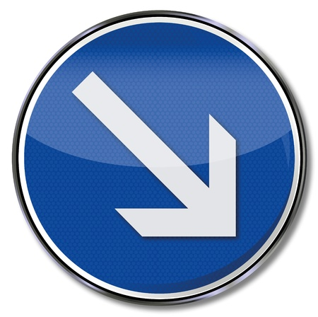 reference point: Road sign arrow pointing right