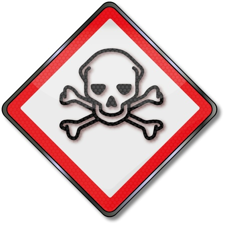 hazardous material: Danger Sign Skull