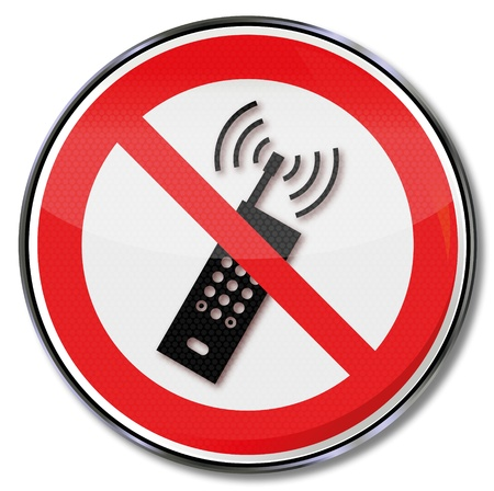 workplace safety: Prohibition sign no cell phones