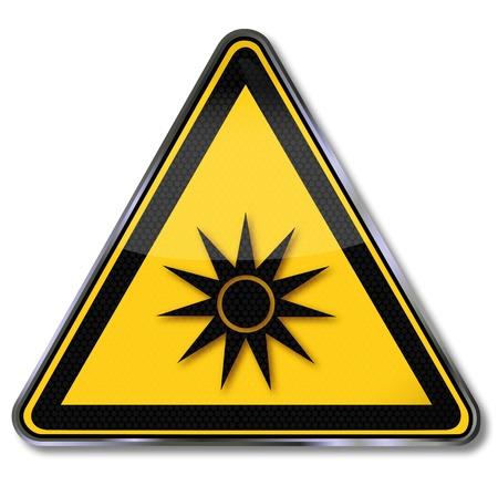 panneaux danger: Les signes de danger optischische rayonnement