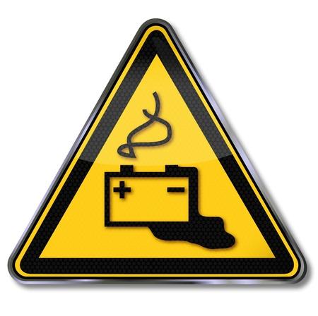 battery acid: Danger Warning signs and battery acid
