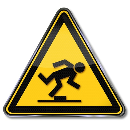 to stumble: Danger signs tripping hazard