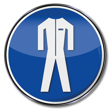 risks button: Safety signs protective clothing overalls,