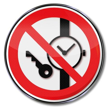 ocupacional: Se�ales portadoras de la prohibici�n de metal y se le prohibi� reloj