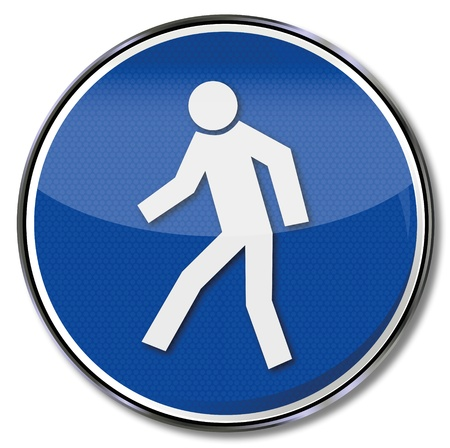 workplace safety: Pedestrian safety signs Illustration