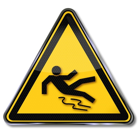 slippery warning symbol: Danger signs slippery